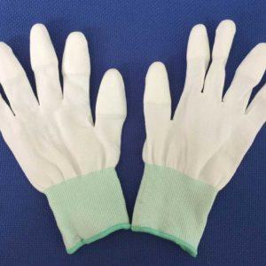 găng tay phủ pu ngón trắng